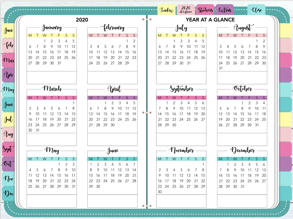 "Screenshot of the Year at a Glance section of the digital planner, ""Plan On It"""