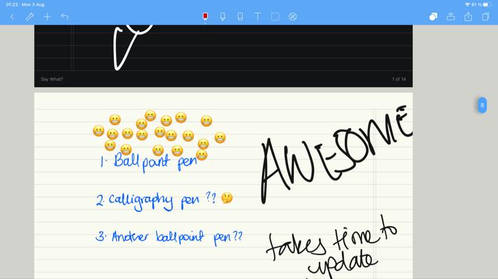 Screenshot of Noteshelf showing horizontal scrolling in the app