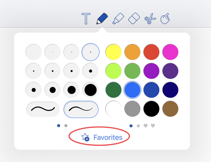How to add tools to favourites toolbar in Notability